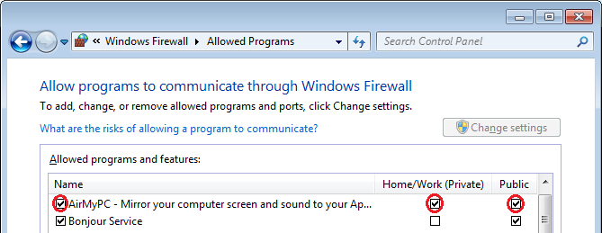 allow airmypc windows firewall